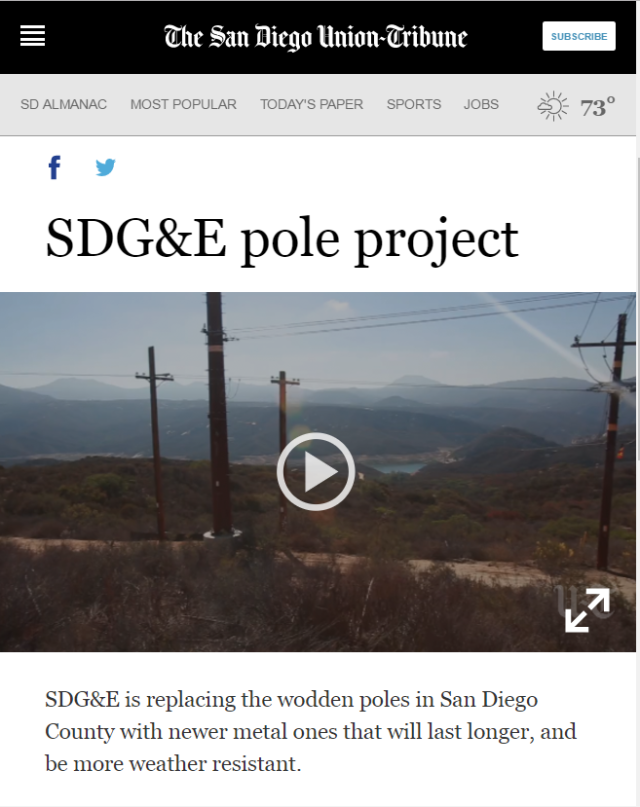 SDGE video about replacing wood with steel poles